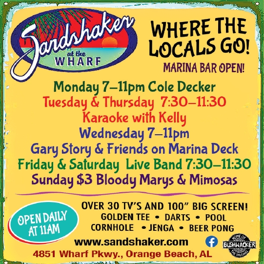 Weekly Events at sandshaker wharf